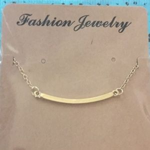Horizontal Curved Bar Necklace Gold Tone Delicate